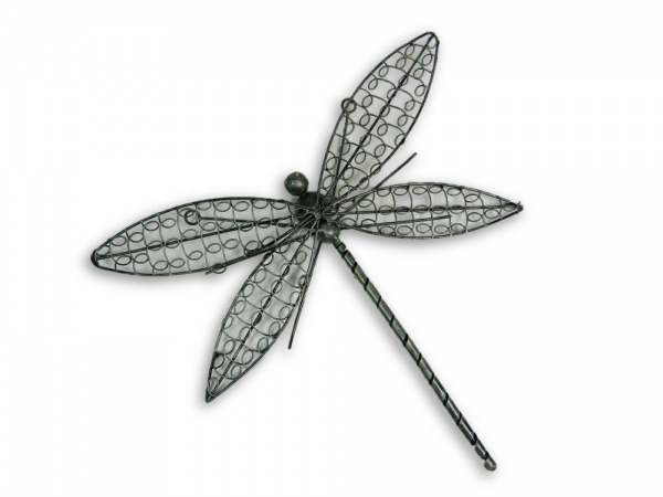 Silver Wire Dragonfly Wall Art - Small